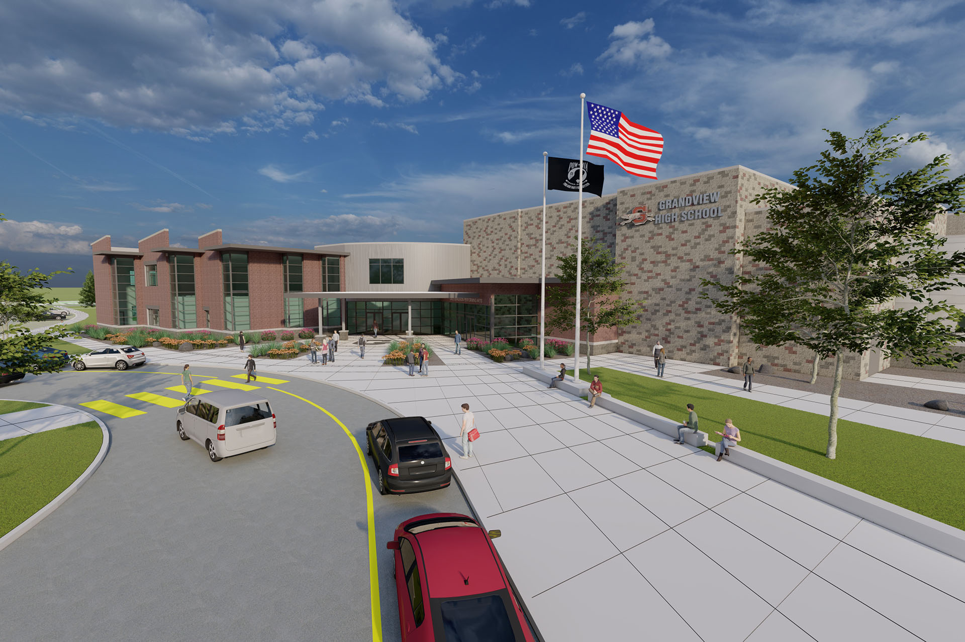 Grandview High School Exterior 3d